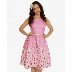 Dámské retro šaty Delta Pink Blossom Floral