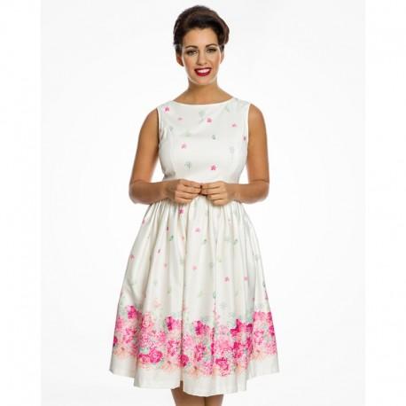 Dámské retro šaty Audrey Cream Floral Border, Velikost 42, Barva Barevná Lindy Bop 50560619