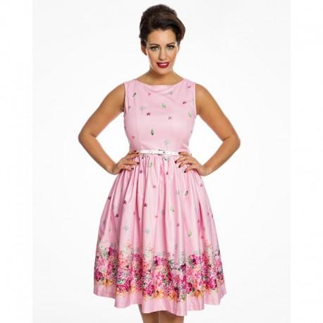 Dámské retro šaty Audrey Pink Floral Borde, Velikost 36, Barva Barevná Lindy Bop 50560619