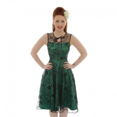 Dámské retro šaty Lindy Bop Frankie zelené, Velikost 42, Barva Zelená Lindy Bop 8226