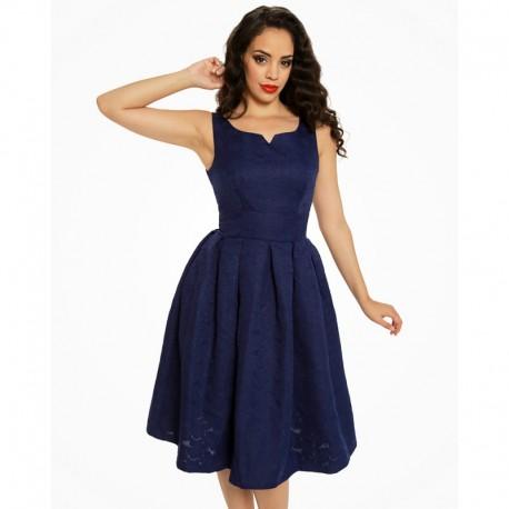 Dámské retro šaty Lindy Bop FELICIA tmavě modré, Velikost 40, Barva Tmavě modrá Lindy Bop 3244