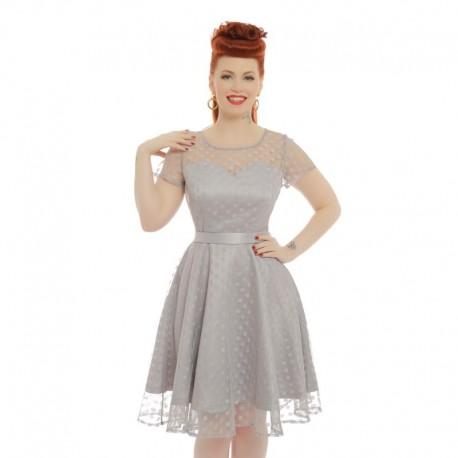 Dámské retro šaty Lindy Bop ABBIE šedé, Velikost 42, Barva Šedá Lindy Bop 58557