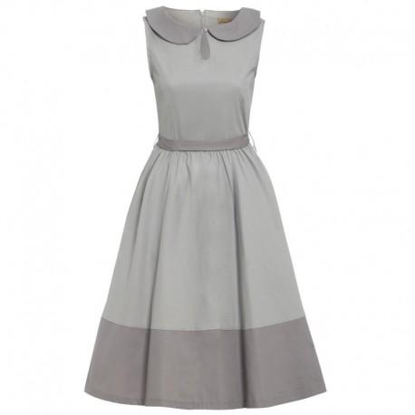 Dámské retro šaty Lindy Bop BEATTIE šedé, Velikost 42, Barva Šedá Lindy Bop 53225