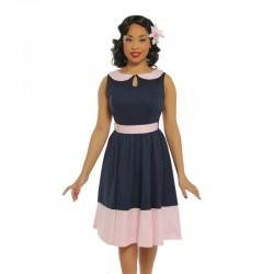 Dámské retro šaty Lindy Bop BEATTIE tmavě modré