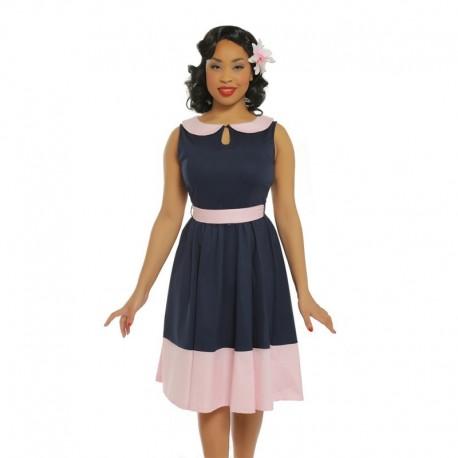 Dámské retro šaty Lindy Bop BEATTIE tmavě modré, Velikost 40, Barva Tmavě modrá Lindy Bop 53224