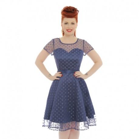 Dámské retro šaty Lindy Bop ABBIE tmavě modré, Velikost 36, Barva Tmavě modrá Lindy Bop 58670
