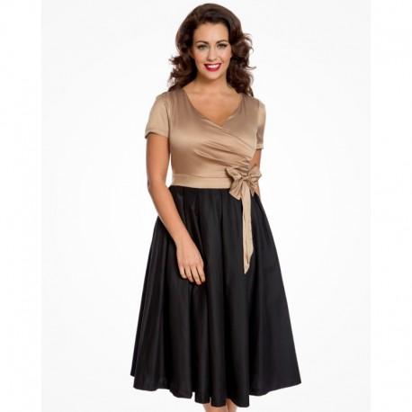 Dámské retro šaty Lindy Bop Gina gold black, Velikost 36, Barva Černá Lindy Bop 6124