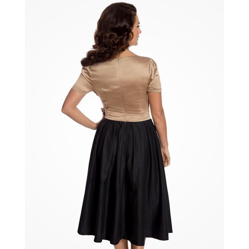 abb6a4279f2 Dámské retro šaty Lindy Bop Gina gold black