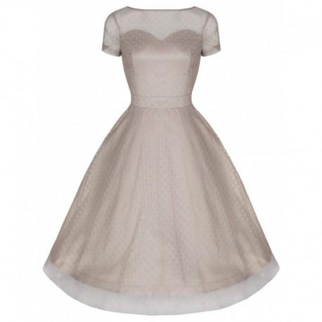Dámské retro šaty Lindy Bop Leona béžové, Velikost 38, Barva Béžová Lindy Bop 3232