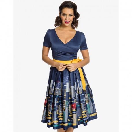 Dámské retro šaty Lindy Bop Gina NYC tmavě modré, Velikost 36, Barva Tmavě modrá Lindy Bop 5573