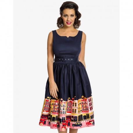 Dámské retro šaty Lindy Bop Delta Carnaby Street tmavě modré, Velikost 42, Barva Tmavě modrá Lindy Bop 3528