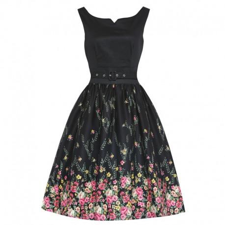 Dámské retro šaty Lindy Bop Delta Floral černé, Velikost 38, Barva Černá Lindy Bop 3641