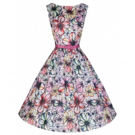 Dámské retro šaty Lindy Bop Audrey Floral Sketch, Velikost 44, Barva Barevná Lindy Bop T19933