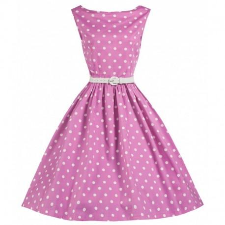 Dámské retro šaty Lindy Bop Audrey Pink Polka, Velikost 44, Barva Růžová Lindy Bop T14928