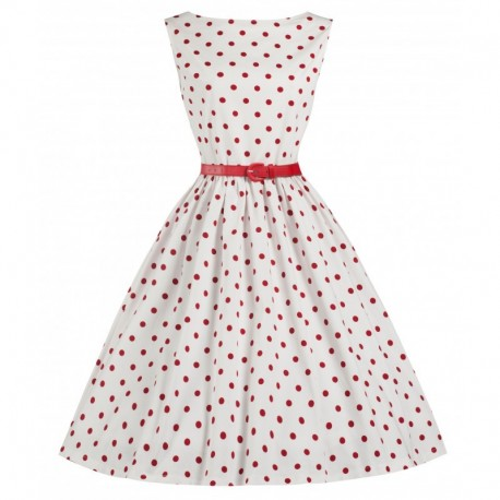 Dámské retro šaty Lindy Bop Audrey White Polka, Velikost 48, Barva Bílá Lindy Bop T14843