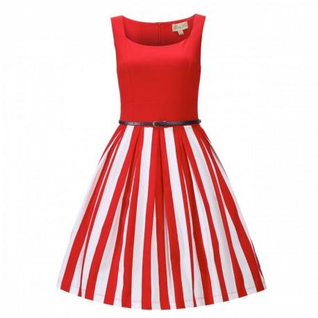 46f9cf58f3b Dámské retro šaty Lindy Bop Bette Red Stripe