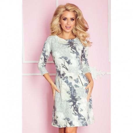 0cc5e7c2a3ba Dámské luxusní vzorované šaty zdobené zipy s 3 4 rukávem béžovo šedé