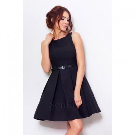 Dámské elegantní společenské šaty bez rukávu s páskem černé 7e6ee9c62d