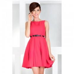 Dámské elegantní společenské šaty bez rukávu s páskem korálové
