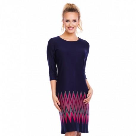 9483cf74bb3 Dámské vzorované šaty Anna s 3 4 rukávem tmavě modré