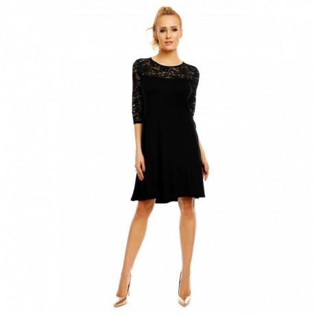Dámské šaty Karolina s 3-4 rukávem a krajkou černé, Velikost M, Barva Černá LENTAL 3954