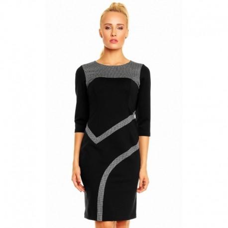 Dámské společenské šaty Karina s 3/4 rukávem se vzorem černé, Velikost 38, Barva Černá LEN