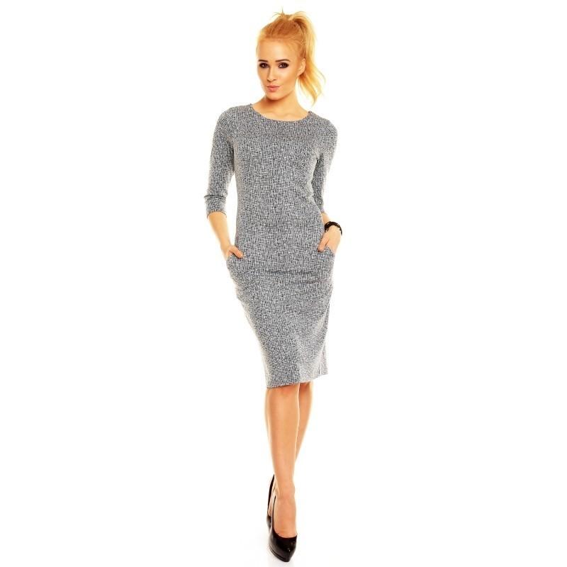 1bc99f50ef64 Dámské šaty Simona s 3 4 rukávem žakárové šedé