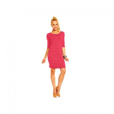 Dámské společenské šaty Brygida s 3 4 rukávem korálové 7d2c50eb22