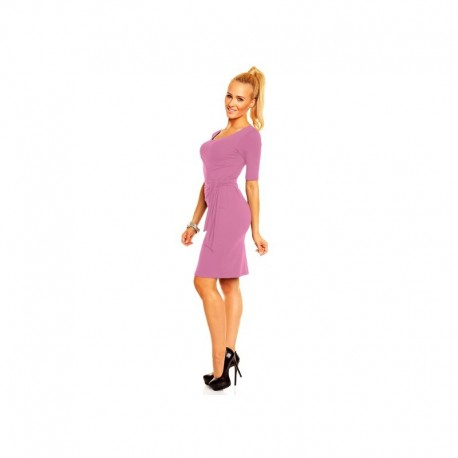 Dámské společenské šaty s krátkým rukávem Lea pudrové