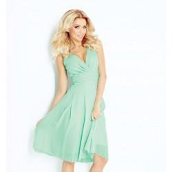 Krásné dámské šaty šifonové bez rukávu mentolové
