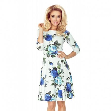 Krásné dámské šaty s 3/4 rukávem a rozšířenou sukní - modré květy, Velikost L, Barva Barevná NUMOCO 49-18