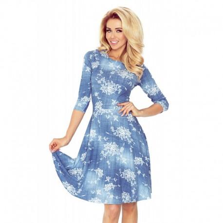 884aa1c5dd0 Dámské šaty džínového vzhledu s rozšířenou sukní a květinovým motivem modré