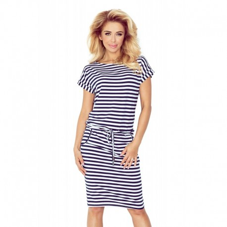 Dámské šaty Hana se zavazovací tkanicí a kapsami modro - bílé, Velikost S, Barva Modrá NUMOCO 139-2