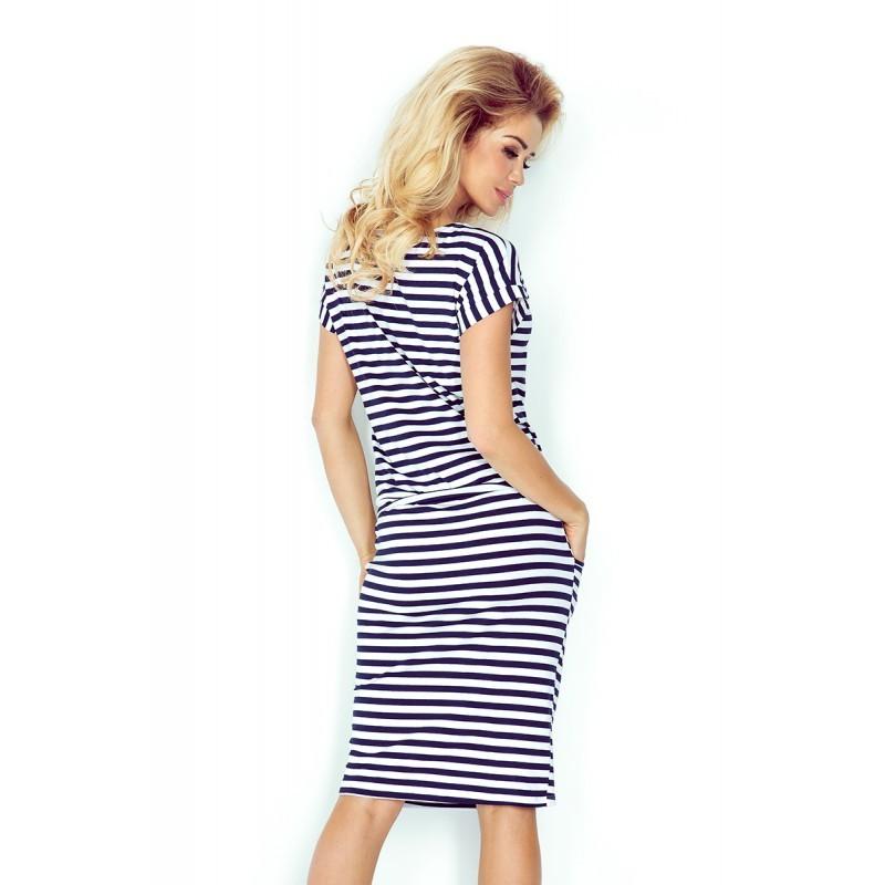 d84b855100b2 Dámské šaty Hana se zavazovací tkanicí a kapsami modro - bílé