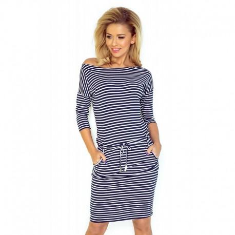 Dámské sportovní šaty v námořnické stylu 1351 tmavě modré s bílou, Velikost S, Barva Modrá NUMOCO 13-51
