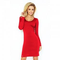 Elegantní šaty s dlouhým rukávem červené ELA