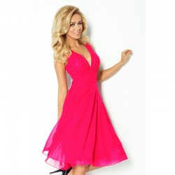 Krásné dámské šaty šifonové bez rukávu růžové