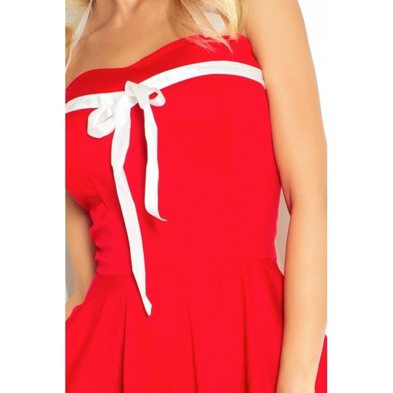 6880c8eb24b4 Dámské šaty PIN UP ROCKABILLY červené s bílou