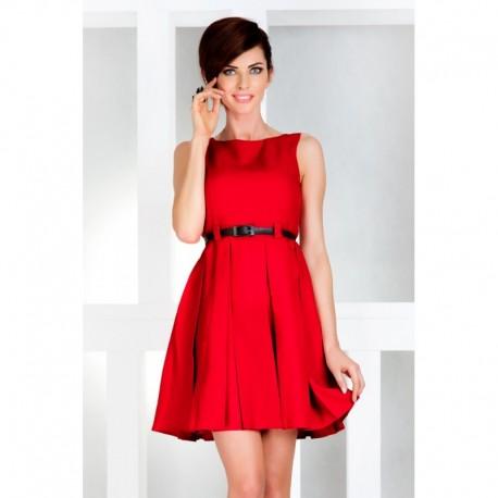 30e5517fdab Dámské elegantní šaty bez rukávu s páskem červené