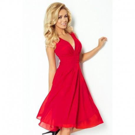 Krásné dámské šaty šifonové bez rukávu malinové