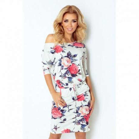 Krásné dámské šaty s 3 4 rukávem a rozšířenou sukní s květinovým motivem 2575b3441d6