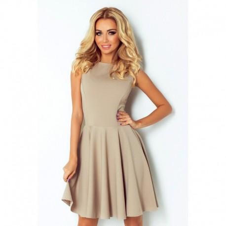 Dámské elegantní šaty bez rukávu béžové c7415b27c3