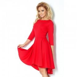 Luxusní dámské společenské a plesové šaty s 3/4 rukávem červené