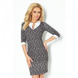 Dámské společenské šaty a business casual šaty s 3/4 rukávem černo-bílé