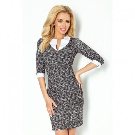 Dámské společenské šaty a business casual šaty s 3/4 rukávem černo-bílé, Velikost XL, Barva Černo - bílá NUMOCO 110-3
