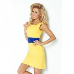 Dámské trendy šaty bez rukávu žluté s modrým pruhem
