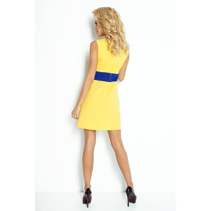 143c3e315 Dámské trendy šaty bez rukávu žluté s modrým pruhem