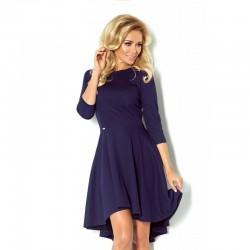 Luxusní dámské společenské a plesové šaty s 3/4 rukávem tmavě modré