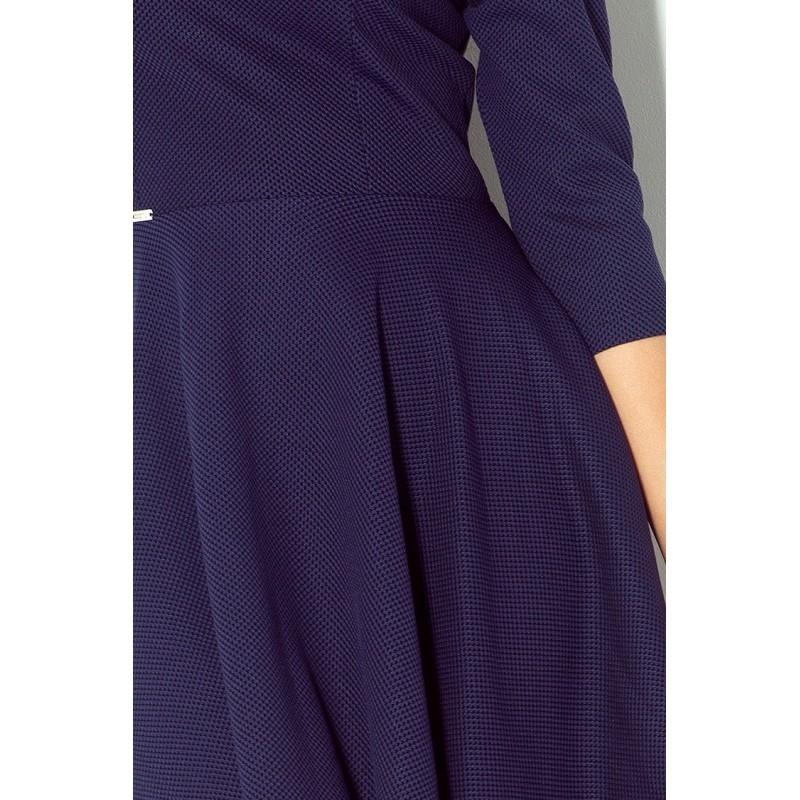 Luxusní dámské společenské a plesové šaty s 3 4 rukávem tmavě modré f87aabf4d3