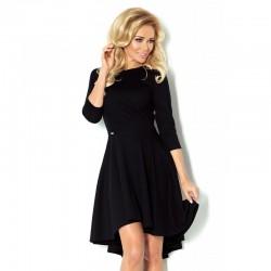 Luxusní dámské společenské a plesové šaty s 3/4 rukávem černé
